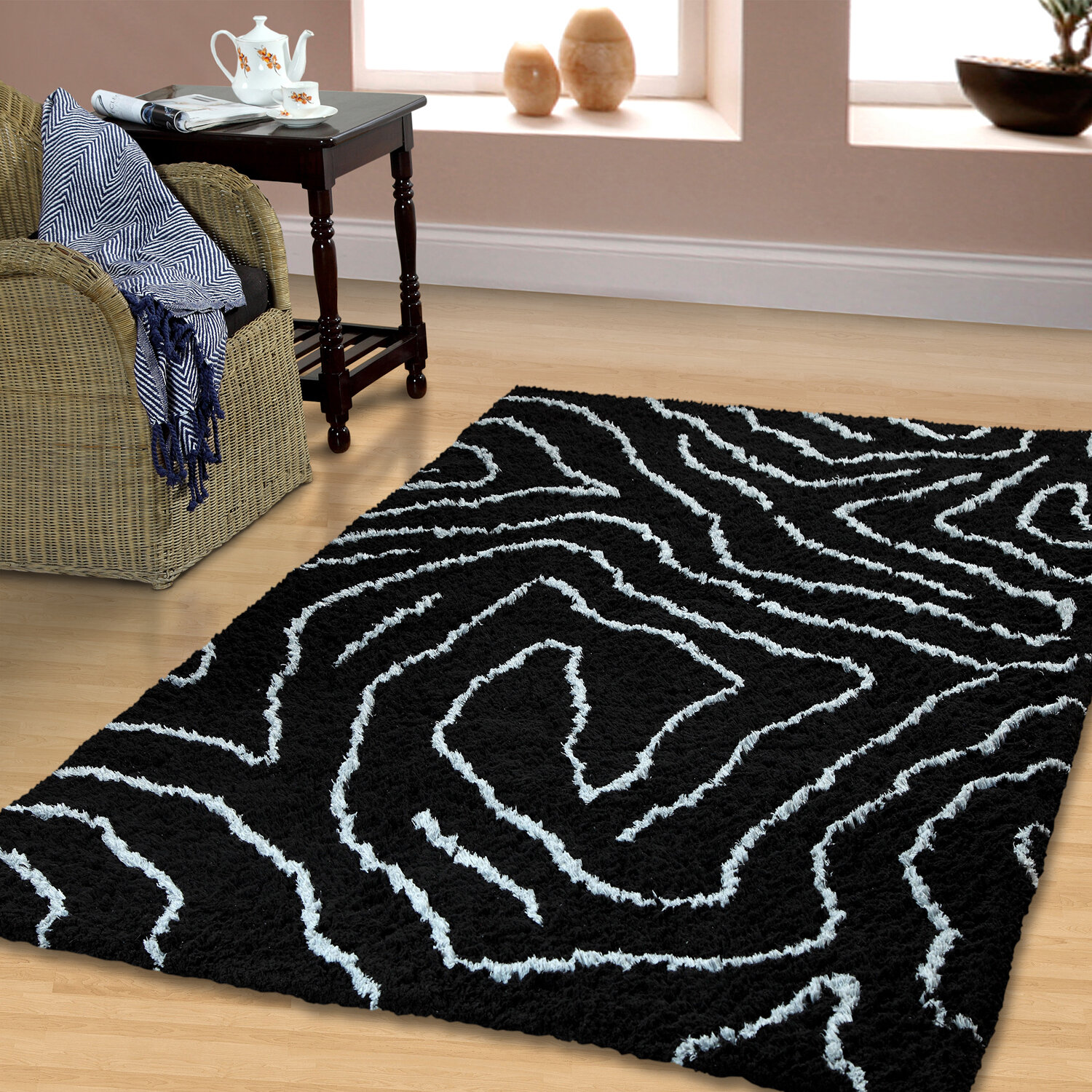 Wrought Studio Weisend Abstract Handmade Black Silver Area Rug Wayfair