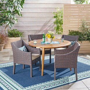 Liberatore Outdoor 5 Piece Dining Set with Cushions