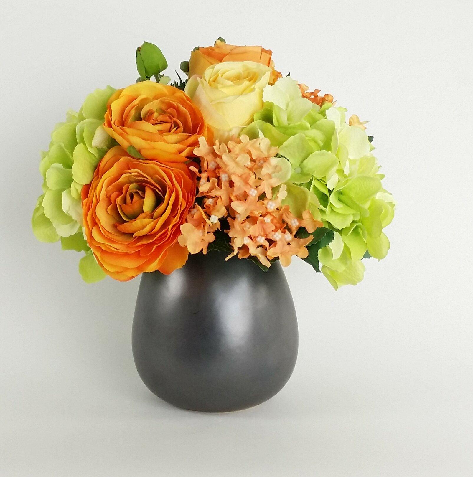 Rg Style Artificial Silk Mixed Floral Arrangements In Decorative Vase Wayfair