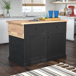Meredith Kitchen Island with Butcher Block Top Breakwater Bay