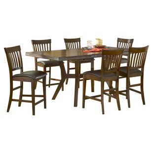 Harkness 7 Piece Counter Height Dining set Loon Peak