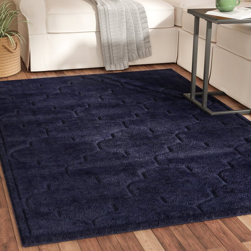 Charlton Home Millvale Navy Blue Area Rug Reviews Wayfair