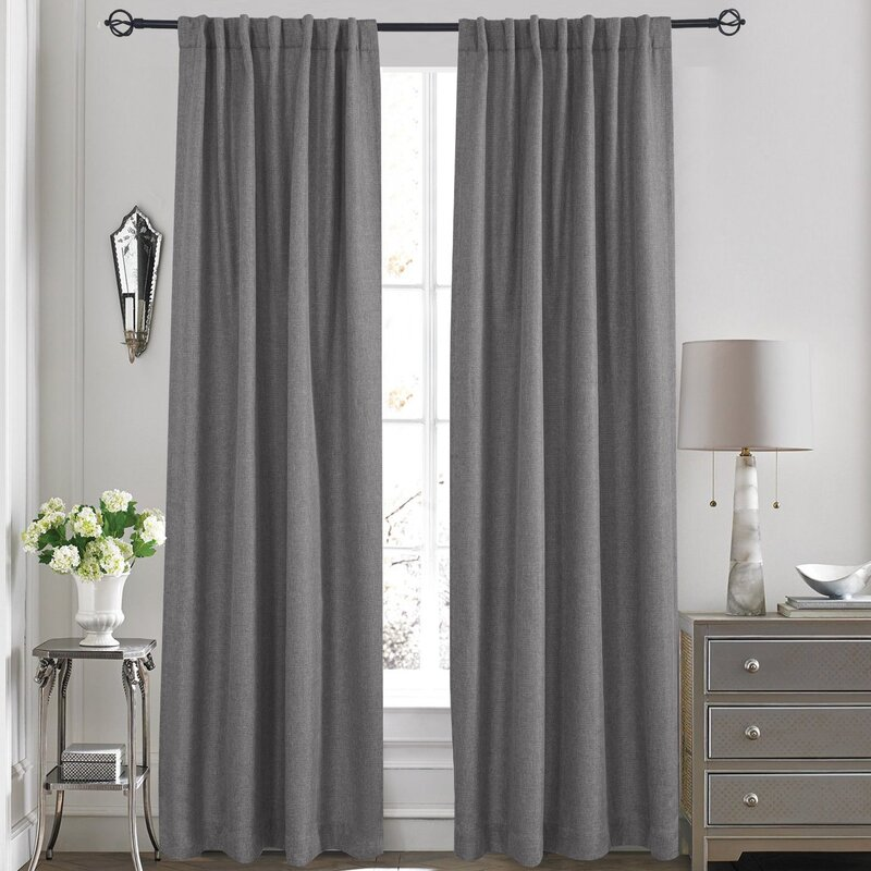 olivia solid blackout thermal rod pocket curtain panels set of 2