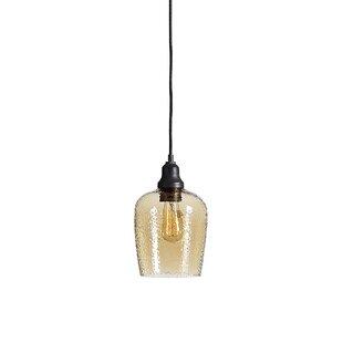 Eleanor Amber Glass 1 -Light LED Bell Pendant by Breakwater Bay
