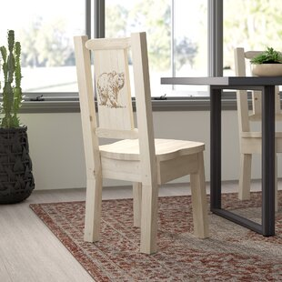 Abella Bear Solid Wood Dining Chair Loon Peak