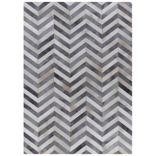 Online Reviews Natural Hide Hand-Knotted White/Light Gray Area Rug By Exquisite Rugs