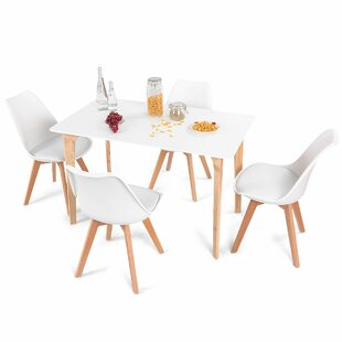 Elyssa Rectangular 5 Piece Solid Wood Dining Set Ebern Designs