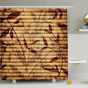 Bamboo Leaves Bohemian Shower Curtain Set ByAmbesonne