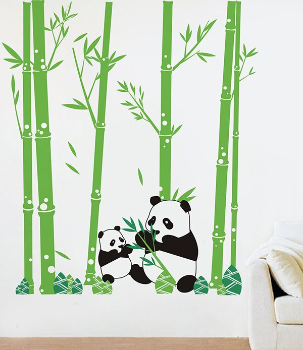 Captivating Pandas Love Bamboo Wall Decal