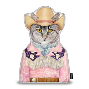 Jenkinson Cowboy Cat Shaped Throw Pillow