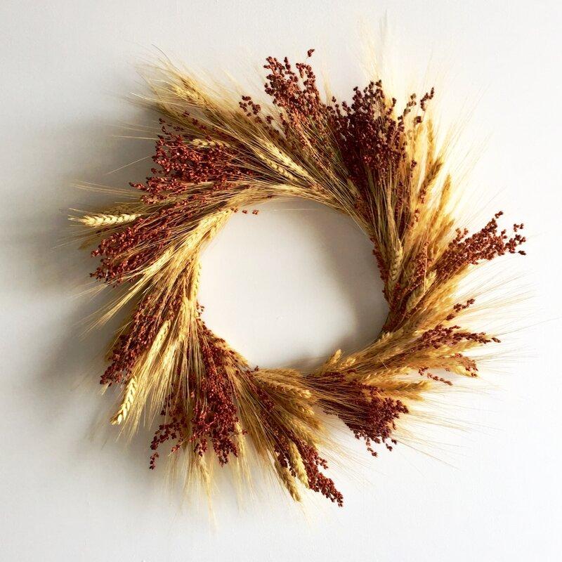 August Grove Preserved Broomcorn Harvest Wheat Wreath