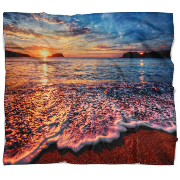 East Urban Home Seascape Peaceful Evening Beach View Blanket Wayfair