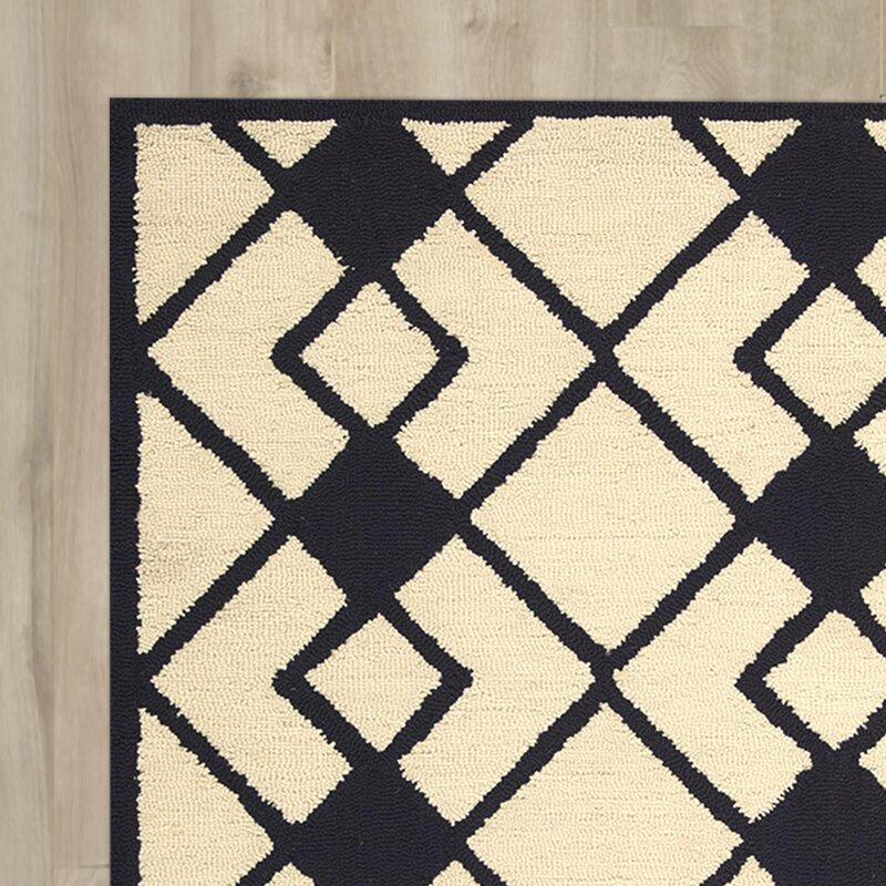 Wrought Studio Laguardia Hand Tufted Ivory Navy Area Rug