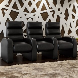 Bonded Leather Manual Rocker Recline Home Theater Sofa Row of 3