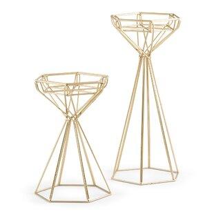 9583d473526be Tall Geometric 2 Piece Metal Glass Candlestick Set