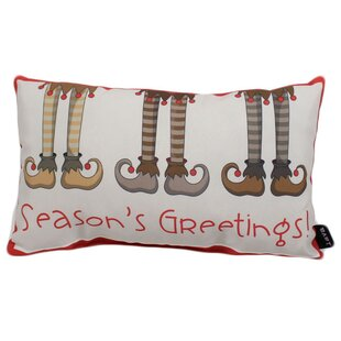 Season's Greetings Outdoor Lumbar Pillow by The Holiday Aisle Best Choices