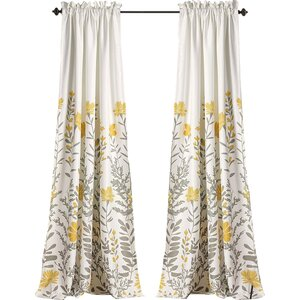 Hilliard Nature/Floral Room Darkening Thermal Rod Pocket Curtain Panels (Set of 2)