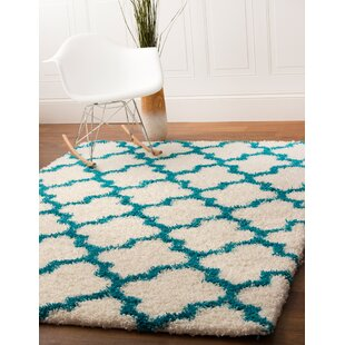 Keithsburg White/Turquoise Area Rug By Andover Mills