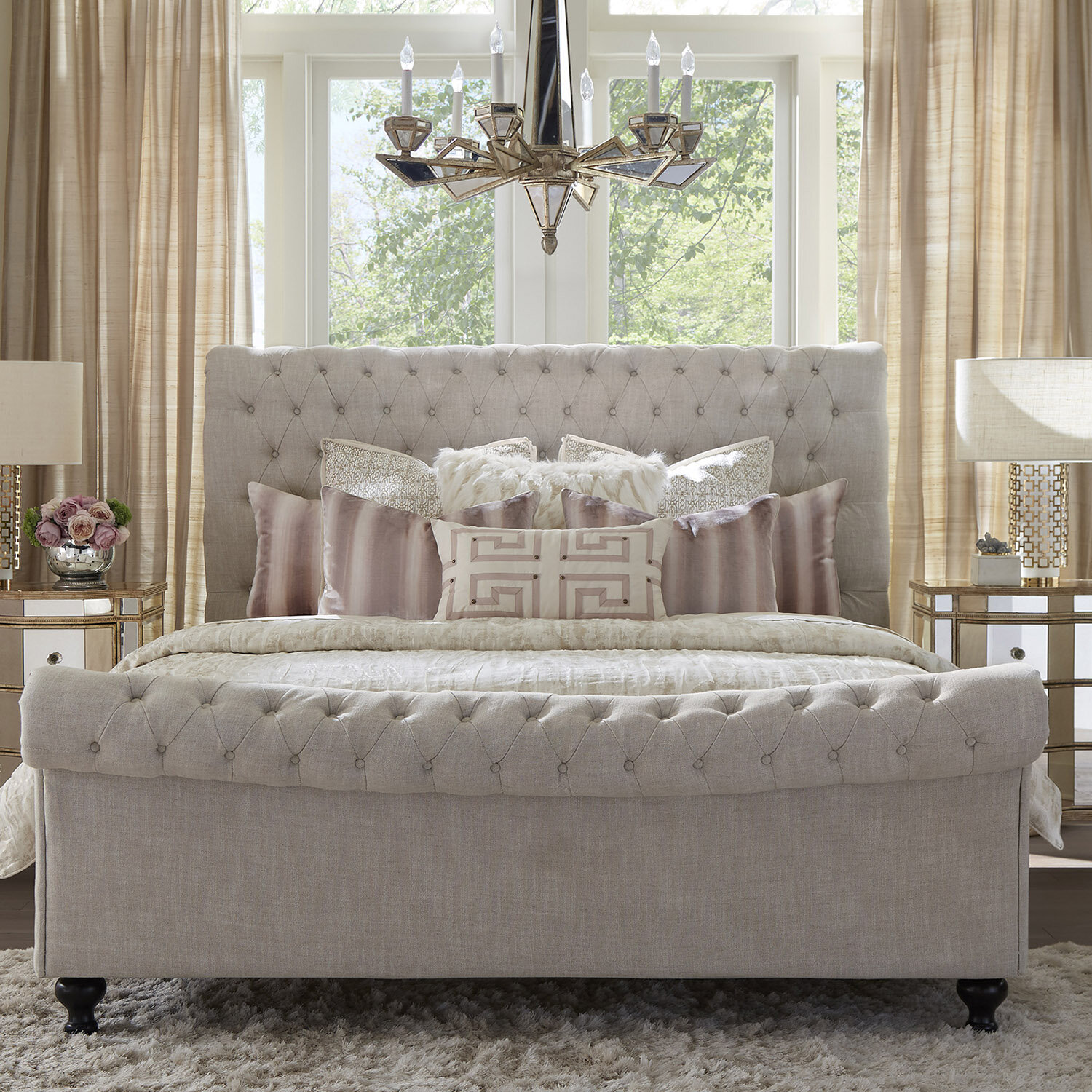 Fairview Home Jackie Crepe Tufted Upholstered Sleigh Bed Reviews Wayfair
