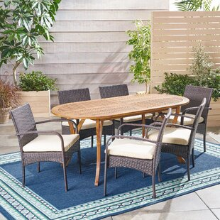 Bungalow Rose Winchell Outdoor 7 Piece Dining Set with Cushions