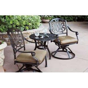 Three Posts Lebanon 3 Piece Bistro Set with Cushions and Cooler