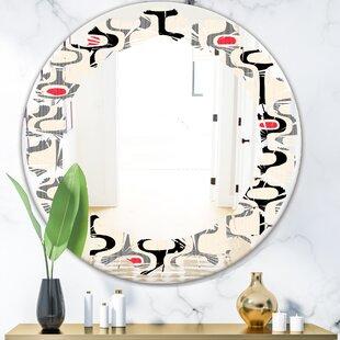 Leaves Abstract Design IX Modern  Contemporary Frameless Wall Mirror
