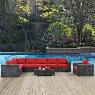 Keiran 7 Piece Rattan Sectional Set with Sunbrella Cushions