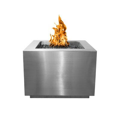 """The Outdoor Plus Forma Electronic Ignition Stainless Steel Fire Pit  Size: 24"""" H x 36"""" W x 36"""" D, Fuel Type: Natural Gas, Finish: Stainless Steel"""