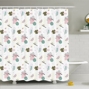 Modern Art Home Pastel Colored Diagonal and Hexagonal with Dots inside Hipster Kids Theme Shower Curtain Set