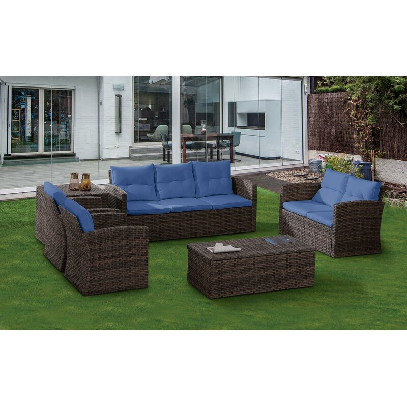 Rosecliff Heights Witherell 6 Piece Rattan Sofa Seating Group With Cushions Reviews Wayfair Ca