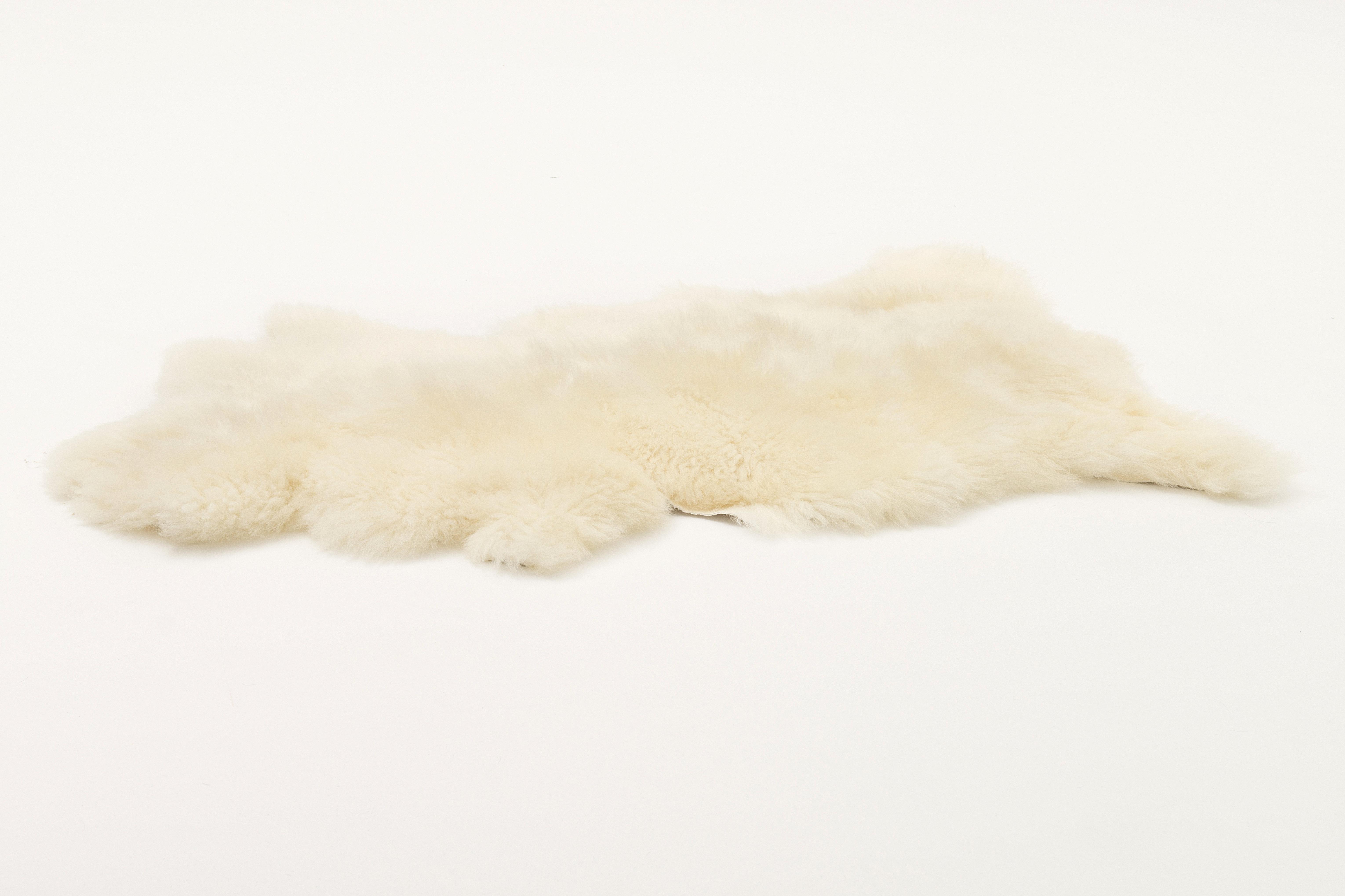 Bidkhome Small Sheepskin White Area Rug