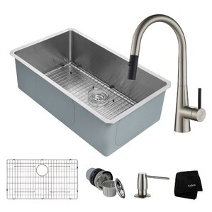 Kraus Handmade Series 32� x 19� Undermount Kitchen Sink with Faucet and Soap Dispenser