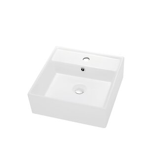 Dawn USA Ceramic Rectangular Vessel Bathroom Sink with Overflow