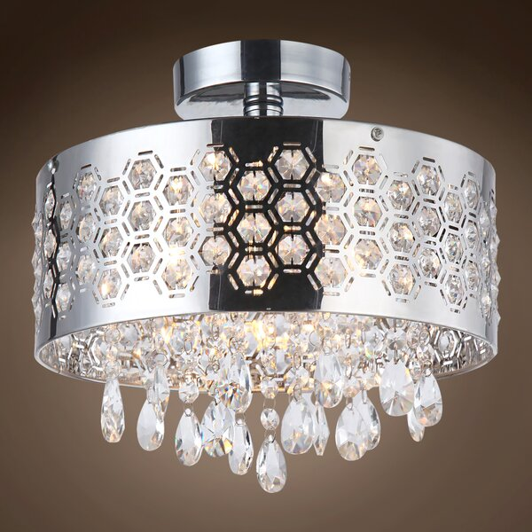 Alexa 3 - Light 11.75 Chandelier Style Tiered Semi Flush Mount by Everly Quinn