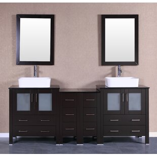 Mateo 84 Double Bathroom Vanity Set with Mirror by Bosconi