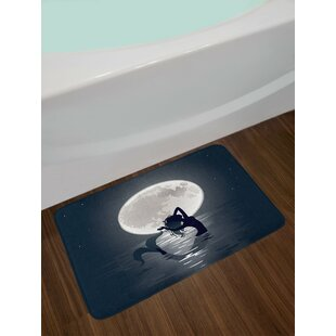 Underwater Mermaid Singing at Night Silhouette Full Moon Rays Mythical Ornament Art Print Non-Slip Plush Bath Rug