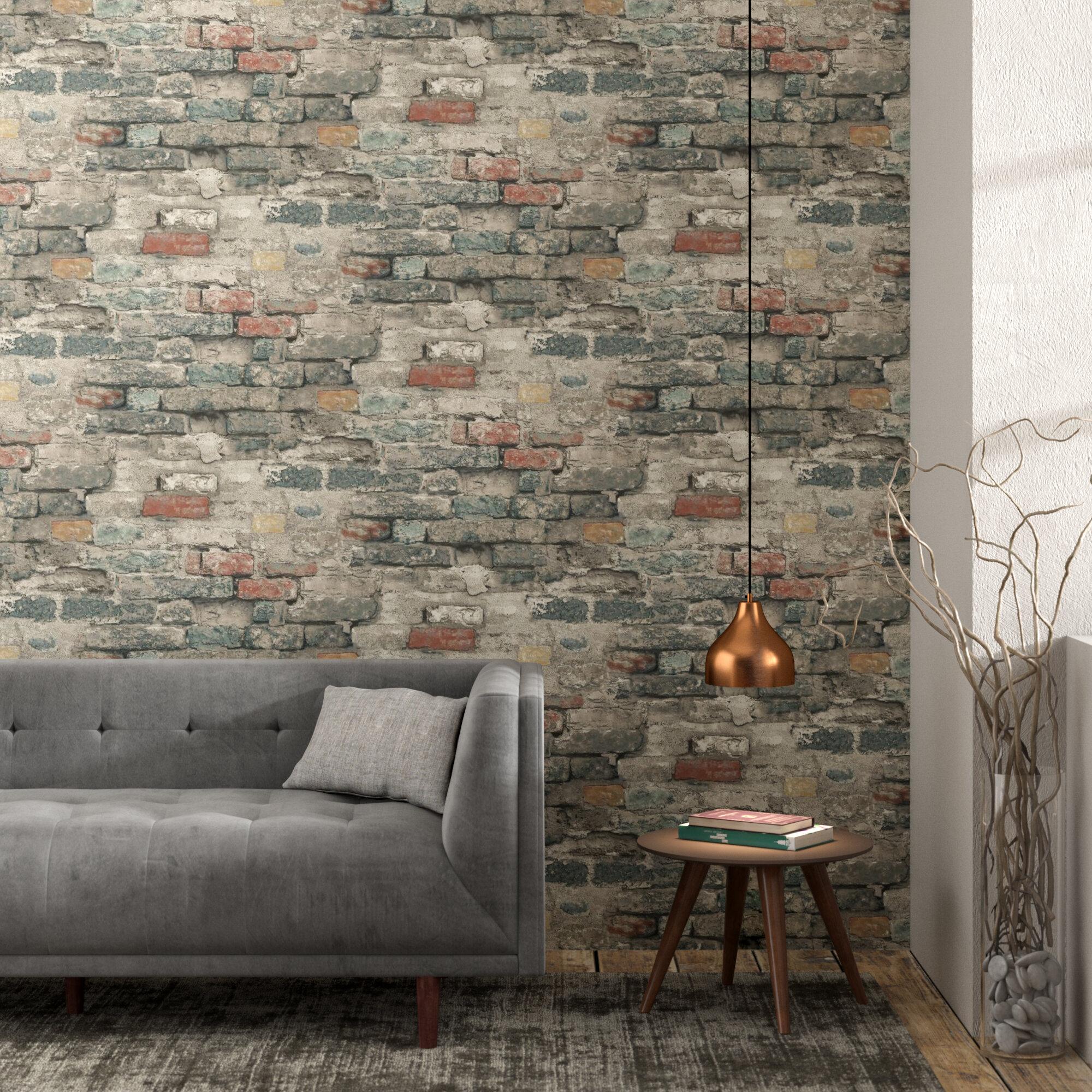 Williston Forge Crigler 16 5 L X 20 W Brick Alley And Stick Wallpaper Roll Reviews Wayfair