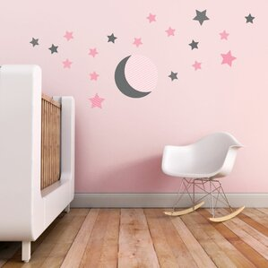 Delightful Moon And Stars Wall Decal Photo