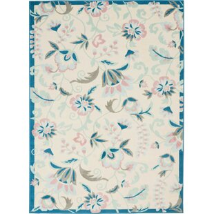 Badgett Floral Ivory/Pink/Blue Area Rug by Charlton Home