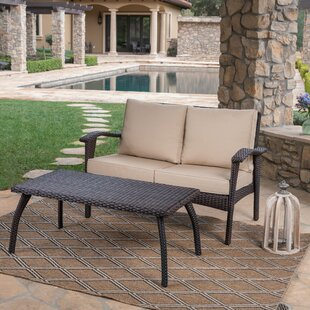 Hogue 2 Piece Rattan Sofa Set with Cushions