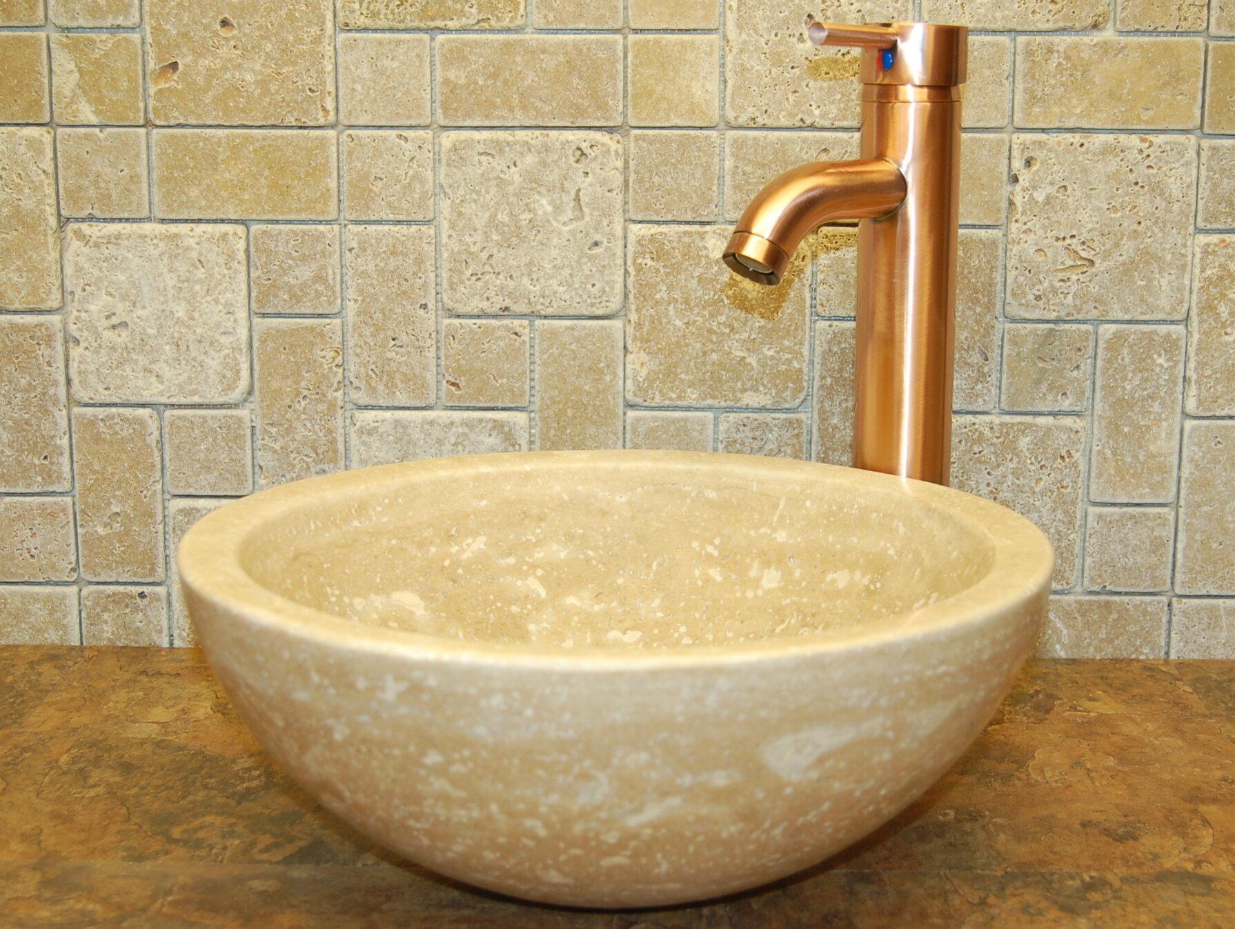 Merveilleux Small Bowl Honed Travertine Circular Vessel Bathroom Sink