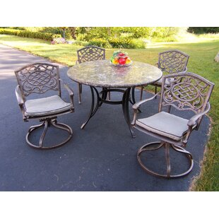 Stone Art 5 Piece Dining Set with Swivel Chairs and Cushions by Oakland Living