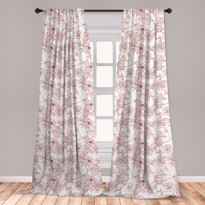 Ambesonne Vintage Curtains, Rustic Sprigs With Wild Peonies Nature Inspired  Garden Pattern Vintage Look, Window Treatments 2 Panel Set For Living Room  ...