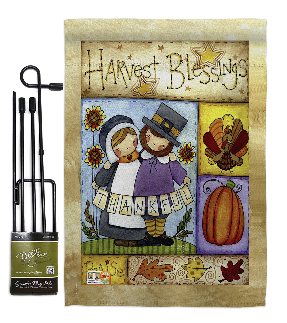 Breeze Decor Thankful Pilgrims Impressions 2 Sided Polyester 18 5 X 13 In Flag Set Wayfair