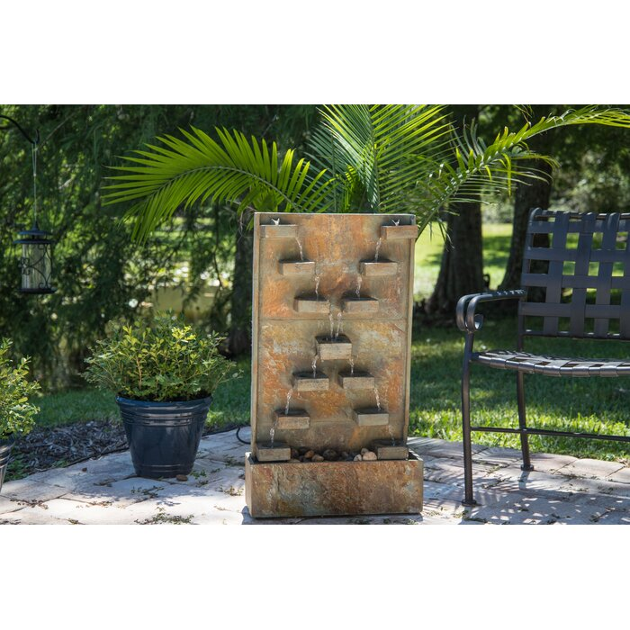 Temple Natural Stone Floor Fountain With Light