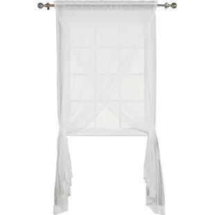 Polka Dots Sheer Rod Pocket Single Curtain Panel