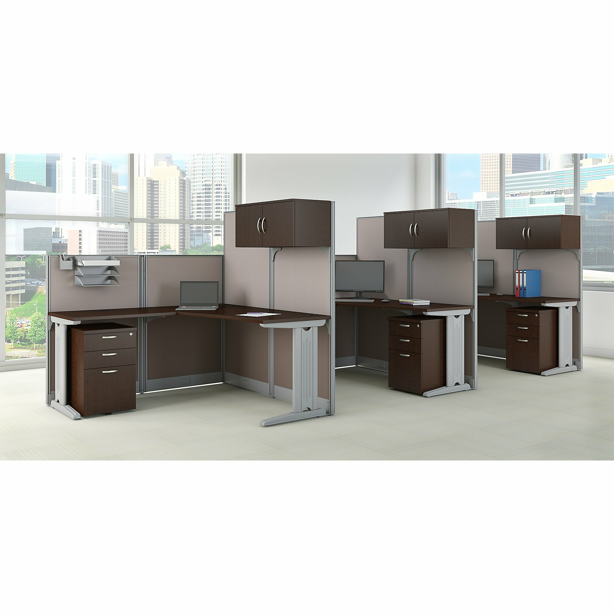 3 Person Cubicle Workstations 9 Piece L-Shape Desk on