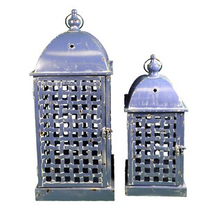 Metal Lantern Set (Set of 2) By Bloomsbury Market Outdoor Lighting