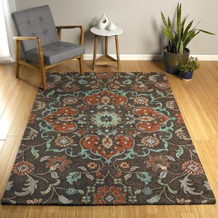 Elberta Hand-Tufted Chocolate/Blue Indoor/Outdoor Area Rug
