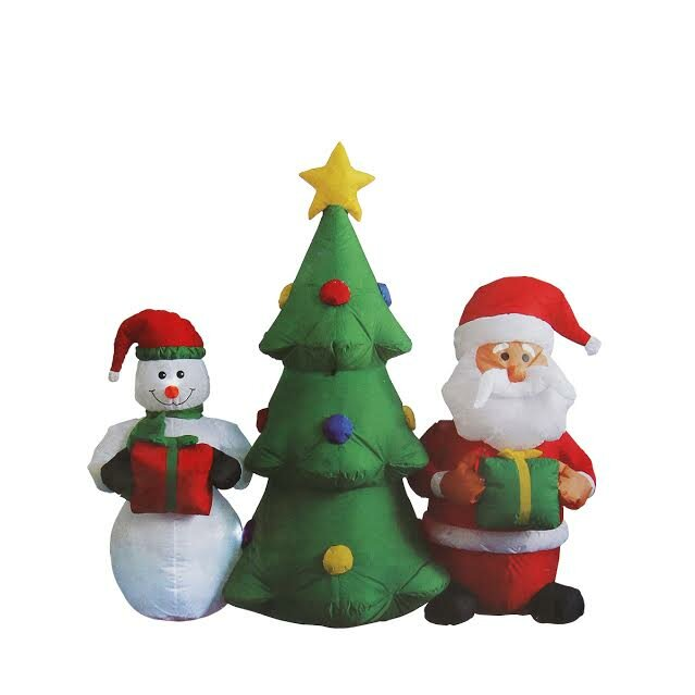 inflatable christmas tree with santa claus and snowman lighted christmas yard art decoration - Lighted Christmas Yard Decorations